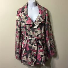"""Cynthia  Rowley multicolored trench coat Size L In perfect condition,no any signs of wearing.Length 28"""" ,Fully lined. Cynthia Rowley Jackets & Coats Trench Coats"""