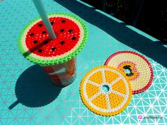 DIY Hama perler glas covers by JolieMake-up Crafts To Make And Sell, Diy And Crafts, Crafts For Kids, Hama Art, Geek Crafts, Pearler Beads, Summer Crafts, Summer Activities, Fun Projects