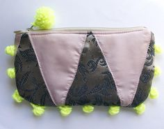 Neon Tribe - one of a kind patchwork zipper pouch with pompoms - Handmade in Kansas - Moth and Rust Designs