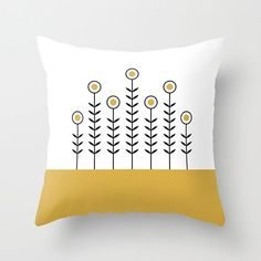 36 colours, Spicy Mustard, SPRING SHOOTS Minimalist Flowers Pattern Pillow, Scandinavian style, Nordic, Faux Down Insert, Indoor or Outdoor