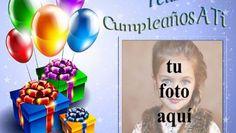 marco de fotos feliz cumpleaños con regalos y globos Birthday Card With Name, Happy Birthday Frame, Birthday Cards, Good Morning Wishes, Coca Cola, Cake, Facebook, Special Birthday, Decorated Bottles
