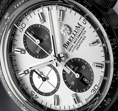 The new Brellum Pandial Black DLC Chronometer watch with images, price, background, specs, & our expert analysis. Breitling, Omega Watch, Watches, Black, Wristwatches, Black People, Clock