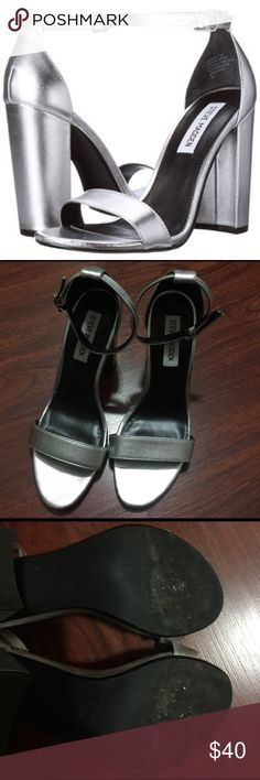Steve Madden Carrson Sandals Used once, good condition. From the website: Get your block heel groove on in CARRSON.  Features single band across toe with adjustable buckle strap at ankle.  This must-have sandal can be paired with everything from skinny jeans to bodycons. Steve Madden Shoes Sandals