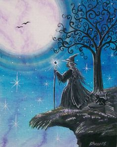 """Star Gazing"" All of our Witch Art and Halloween Art is for sale on Ebay or Etsy under screen name Sunbyrum. Copyright © 1999-2011 Byrum Collectibles All rights reserved. All of our designs, artistry, and photos are protected by copyright."