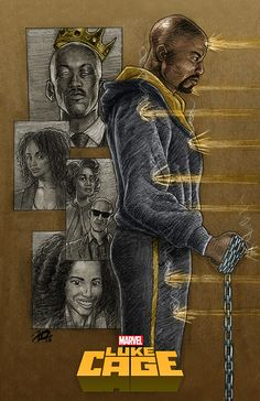 """""""I'm about sick of having to buy new clothes."""" Luke Cage poster, charcoal on sketch paper, digitally colored Black Anime Characters, Comic Book Characters, Marvel Characters, Marvel Fan Art, Marvel Dc, Marvel Comics, Netflix Marvel, Luke Cage Series, Luke Cage Netflix"""
