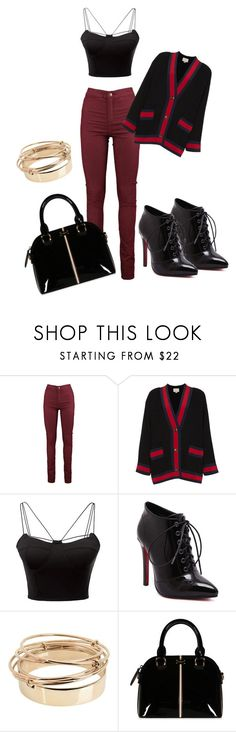 """Red n Black"" by bec60505 on Polyvore featuring Gucci, WithChic and Valentino"