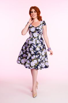 Cap Sleeve Sweetheart Neck Dress in Blue Floral - Dresses - Clothing   Pinup Girl Clothing