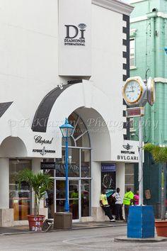 Street scene of shops in Bridgetwon, Barbados, West Indies.