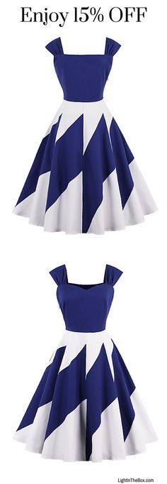 Casual solid colour swing dress . How do you like the white-blue combination? Shop it at just €13.51.