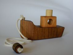 Wooden pull toy eco friendly - BOAT -