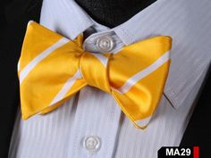 MA29 YELLOW,WHITE 100%Silk Striped Bow Ties Men SELF Tie Classic Wedding Butterfly Bow Tie