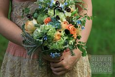 (!) OUR FAVE! The almost perfect bouquet, just need to add/change thistle and change the green hydrangea to be blue-green bicolor. Love the fern curls too!
