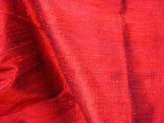 Thai Silk Dupioni - RubyWarp = Black Mulberry Raw Silk. Weft = Intense Red Dupion. 95 - 100 grams.