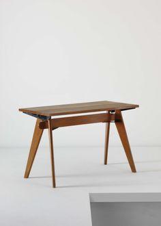 """JEAN PROUVÉ AND PIERRE JEANNERET, Unique prototype """"B.C.C."""" table, from the Central de Construction B.C.C. Office, Nancy"""