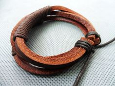 adjustable brown 3 leathers and paraffined cotton by sevenvsxiao, $3.00