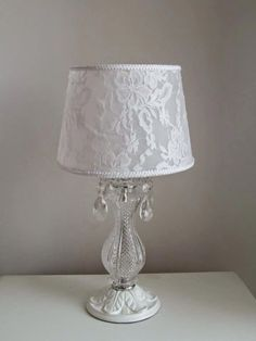 These lamps for entrance are a fabulous extension to your housing Lace Lampshade, Lampshade Redo, Lampshades, Chandelier Makeover, Lamp Makeover, Shabby Chic Antiques, Vintage Shabby Chic, Purple Chandelier, Shabby Chic Lamp Shades