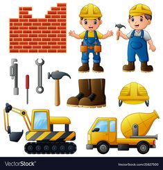Young builders and equipmen Royalty Free Vector Image Community Helpers Worksheets, Community Helpers Crafts, Preschool Jobs, Preschool Centers, Retro Logos, Vintage Logos, Vintage Typography, Deer Cartoon, Speech Therapy Games