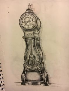 vintage grandfather clock drawing - Google Search ...