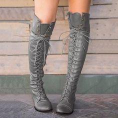 Bandage Thigh-high Boots Shoes – pinshoesnow Lace Up Combat Boots, Thigh High Boots, Suede Boots, Heeled Boots, Laced Boots, Tops Boho, Pantalon Slim, Thick Heels, Short Boots