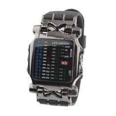 Waterproof Binary Silicone Band Metal LED Watch - Black