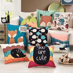 "Cartoon Square 18"" Cotton Linen Throw Pillow Case Cute Fox Picture Home Decorative Cushion Covers #Affiliate"