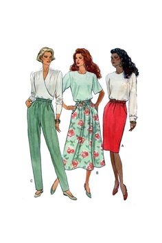 Butterick 5857, High Waist, Pencil Skirt, Aline Skirt, Side Pockets, Tapered Leg Pants, Women Sewing Pattern, Plus Size 12-14-16, UNCUT by FindCraftyPatterns on Etsy