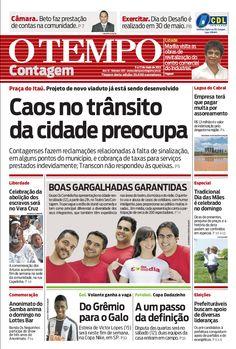 Capa do O Tempo Contagem em 12 de maio de 2012.