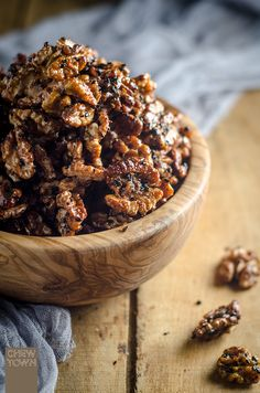Spiced Maple and Black Sesame Walnuts | Chew Town Food Blog