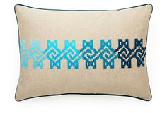 Maze 14x20 Cotton Pillow, Aqua on OneKingsLane.com