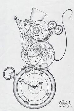 Steampunk Coloring Page. Steampunk Clockwork Mouse WIP by… Steampunk Drawing, Steampunk Kunst, Steampunk Gears, Steampunk Design, Steampunk Makeup, Steampunk Gadgets, Steampunk Costume, Steampunk Clothing, Steampunk Fashion