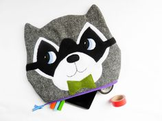 8inch grey raccoon zipper pouch with a bowtie by OneLittleRedFox