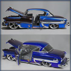 """Four-Jada Toys Bigtime Kustoms - 1953 Chevy Bel Air Hard Top. FOUR JADA 1953. Manufactured by Jada Toys. CHEVY BEL AIR HARD TOP. This 1953 Chevrolet Bel-Air is an 8.5""""L x 3""""W x 2.5""""H with openable doors and hood. 