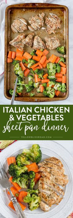 Italian Chicken and Vegetables Sheet Pan Dinner - an easy one pan meal, with chicken and veggies that are tender and juicy & full of flavor. Vegetable Recipes, Chicken Recipes, Vegetable Samosa, Vegetable Dishes, Recipe Chicken, Pork Recipes, One Pan Meals, Easy Meals, Dining
