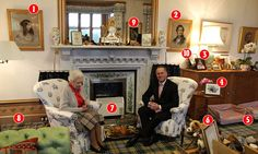 Pictured: The Queen's sitting room at Balmoral... and a photo of great grandson George