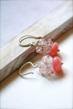 Romantic Concoctions II -- Rose Petal Martini Petit - Silver Jewelry, Silver Earrings, Romantic Pink, Dainty Classics, Valentine. $38.95, via Etsy.