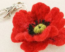 Merino Wool Needle Felted Keychain Bag Charm with Red Poppy Flower Key Ring Valentines Mother Day  Present Gift