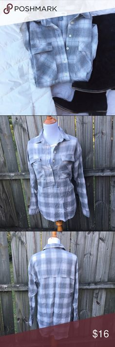 Boyfriend Fit Flannel Soft and comfortable boyfriend fit grey and white checked Flannel. It is longer so it's perfect for leggings or skinny jeans. Pair with a puffy vest for the perfect winter outfit. Old Navy Tops