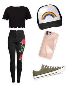 Outfit featuring black crop top with black floral bottoms, olive Converse sneakers