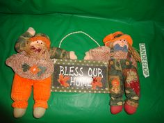 Bless Our Home Fall Decor Wood Sign flanked with Plush Scarecrow dolls find me at www.dandeepop.com