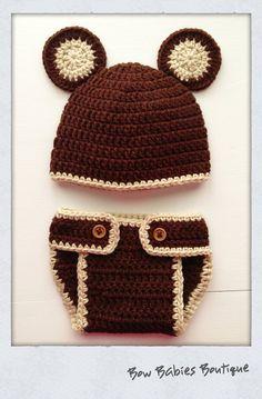 Handmade Crocheted Newborn Teddy Bear Hat   Diaper Cover   Photo Prop on  Etsy b7179de73e5