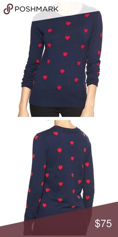 GAP Instarsia Heart Seater [navy/red] XS 55% Cotton, 40% Nylon, 5% Acrylic. Machine Washable. Navy/Red. XS. NWT. Will update photos as time permits. OFFERS WELCOME!! GAP Sweaters Crew & Scoop Necks