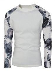 Gamiss - Gamiss Splash Ink Printed Crew Neck Raglan Sleeve Pullover Sweatshirt - AdoreWe.com
