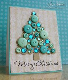 B Make beautiful Christmas cards yourself - Karten - Diy Christmas Cards, Noel Christmas, Handmade Christmas, Christmas Decorations, Christmas Photos, Christmas Buttons, Christmas Button Crafts, Disney Christmas, Funny Christmas