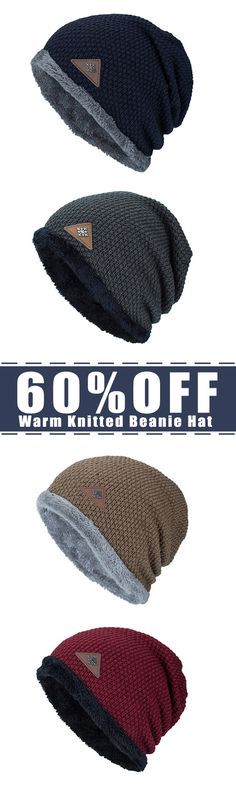 60%OFF&Free shipping. Plus Velvet, Warm Knitted, Beanie Hat, Solid, Outdoor, Elastic Skull Caps. Color: Navy, Khaki, Wine Red, Black, Grey. Shop now~