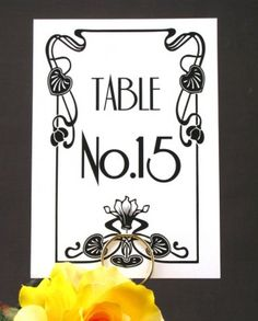 Hollywood Art Deco Table Number - http://www.toptableplanner.com/blog/a-wedding-table-plan-with-some-hollywood-magic