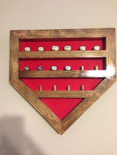 Great way to display baseball rings!!