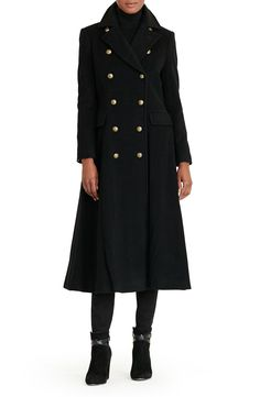 Lauren Ralph Lauren Double Breasted Military Maxi Coat available at #Nordstrom