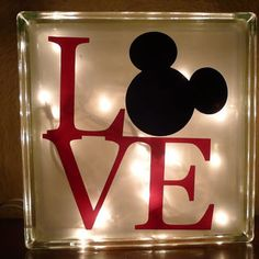 Glass Block with interior lights and ribbon. Choice of painted or custom vinyl Disney Mickey Mouse design. Disney Diy, Casa Disney, Deco Disney, Disney Rooms, Disney Home Decor, Disney Love, Disney Ideas, Baby Mickey Mouse, Mickey Minnie Mouse