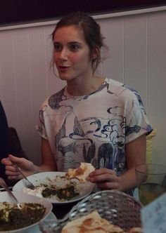 21.34 Miriam Stein having late dinner in Vienna - wearing the A Day in a Live Blue Mountain Fable Printed T-Shirt