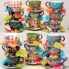 Set of Three Whimsical Stacked Teacup Centerpieces with Mushrooms - Alice in Wonderland Mad Hatter Tea Party, Baby Bridal Shower, Birthday by EdieSChicCrafts on Etsy https://www.etsy.com/listing/255374414/set-of-three-whimsical-stacked-teacup